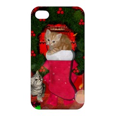 Christmas, Funny Kitten With Gifts Apple Iphone 4/4s Premium Hardshell Case by FantasyWorld7
