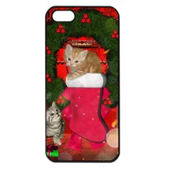 Christmas, Funny Kitten With Gifts Apple Iphone 5 Seamless Case (black) by FantasyWorld7