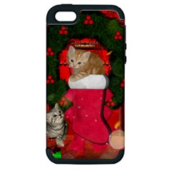 Christmas, Funny Kitten With Gifts Apple Iphone 5 Hardshell Case (pc+silicone) by FantasyWorld7