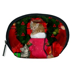 Christmas, Funny Kitten With Gifts Accessory Pouches (medium)  by FantasyWorld7