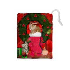 Christmas, Funny Kitten With Gifts Drawstring Pouches (medium)  by FantasyWorld7
