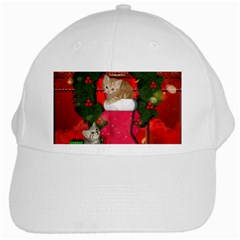 Christmas, Funny Kitten With Gifts White Cap by FantasyWorld7