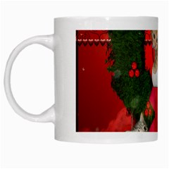Christmas, Funny Kitten With Gifts White Mugs by FantasyWorld7