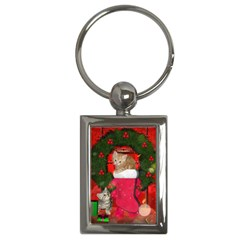 Christmas, Funny Kitten With Gifts Key Chains (rectangle)  by FantasyWorld7