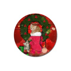 Christmas, Funny Kitten With Gifts Magnet 3  (round) by FantasyWorld7