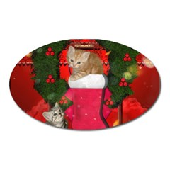 Christmas, Funny Kitten With Gifts Oval Magnet by FantasyWorld7