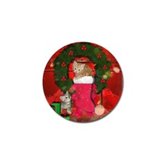Christmas, Funny Kitten With Gifts Golf Ball Marker by FantasyWorld7