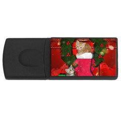 Christmas, Funny Kitten With Gifts Rectangular Usb Flash Drive