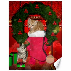 Christmas, Funny Kitten With Gifts Canvas 18  X 24   by FantasyWorld7