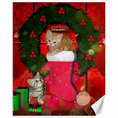 Christmas, Funny Kitten With Gifts Canvas 11  X 14   by FantasyWorld7