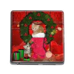 Christmas, Funny Kitten With Gifts Memory Card Reader (square) by FantasyWorld7