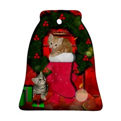 Christmas, Funny Kitten With Gifts Ornament (bell) by FantasyWorld7