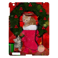 Christmas, Funny Kitten With Gifts Apple Ipad 3/4 Hardshell Case