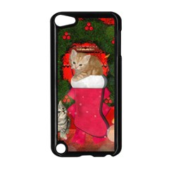 Christmas, Funny Kitten With Gifts Apple Ipod Touch 5 Case (black) by FantasyWorld7