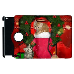Christmas, Funny Kitten With Gifts Apple Ipad 2 Flip 360 Case by FantasyWorld7