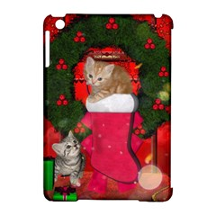 Christmas, Funny Kitten With Gifts Apple Ipad Mini Hardshell Case (compatible With Smart Cover) by FantasyWorld7