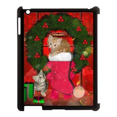 Christmas, Funny Kitten With Gifts Apple Ipad 3/4 Case (black) by FantasyWorld7