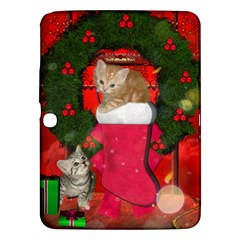 Christmas, Funny Kitten With Gifts Samsung Galaxy Tab 3 (10 1 ) P5200 Hardshell Case  by FantasyWorld7