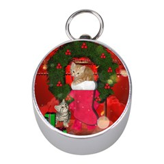 Christmas, Funny Kitten With Gifts Mini Silver Compasses