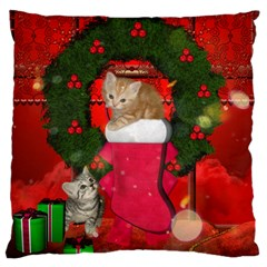 Christmas, Funny Kitten With Gifts Large Flano Cushion Case (one Side) by FantasyWorld7