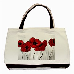 Main Street Poppies Hr Aceo Basic Tote Bag (two Sides) by artbyjacquie