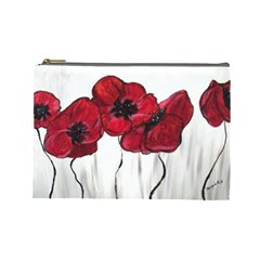 Main Street Poppies Hr Aceo Cosmetic Bag (large)  by artbyjacquie