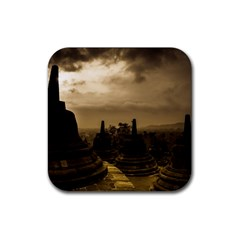 Borobudur Temple Indonesia Rubber Square Coaster (4 Pack)  by Nexatart