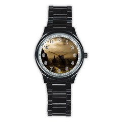 Borobudur Temple Indonesia Stainless Steel Round Watch