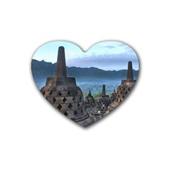 Borobudur Temple  Morning Serenade Rubber Coaster (heart)  by Nexatart