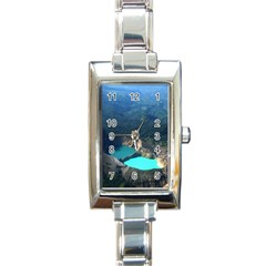 Kelimutu Crater Lakes  Indonesia Rectangle Italian Charm Watch by Nexatart