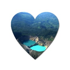 Kelimutu Crater Lakes  Indonesia Heart Magnet by Nexatart