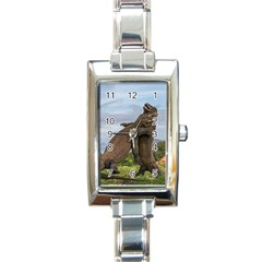 Komodo Dragons Fight Rectangle Italian Charm Watch by Nexatart