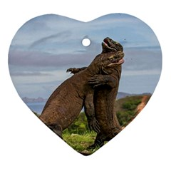 Komodo Dragons Fight Ornament (heart)