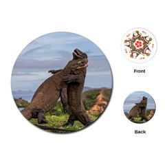 Komodo Dragons Fight Playing Cards (round)  by Nexatart