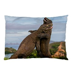 Komodo Dragons Fight Pillow Case (two Sides) by Nexatart