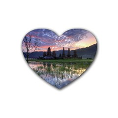 Tamblingan Morning Reflection Tamblingan Lake Bali  Indonesia Rubber Coaster (heart)  by Nexatart