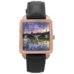 Tamblingan Morning Reflection Tamblingan Lake Bali  Indonesia Rose Gold Leather Watch  by Nexatart