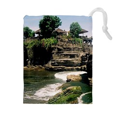 Tanah Lot Bali Indonesia Drawstring Pouches (extra Large) by Nexatart