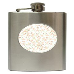 Small Floral Flowers Pattern  Hip Flask (6 Oz) by paulaoliveiradesign