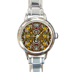 Fantasy Forest And Fantasy Plumeria In Peace Round Italian Charm Watch by pepitasart