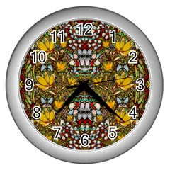 Fantasy Forest And Fantasy Plumeria In Peace Wall Clocks (silver)  by pepitasart