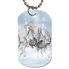 Awesome Running Horses In The Snow Dog Tag (two Sides) by FantasyWorld7