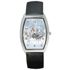 Awesome Running Horses In The Snow Barrel Style Metal Watch by FantasyWorld7