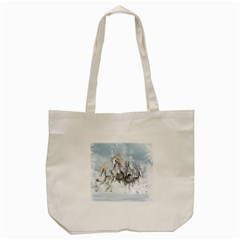 Awesome Running Horses In The Snow Tote Bag (cream) by FantasyWorld7