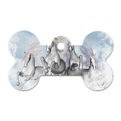Awesome Running Horses In The Snow Dog Tag Bone (one Side) by FantasyWorld7