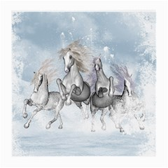 Awesome Running Horses In The Snow Medium Glasses Cloth (2 Side) by FantasyWorld7