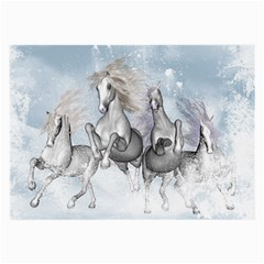 Awesome Running Horses In The Snow Large Glasses Cloth by FantasyWorld7