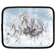 Awesome Running Horses In The Snow Netbook Case (large) by FantasyWorld7