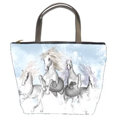 Awesome Running Horses In The Snow Bucket Bags by FantasyWorld7