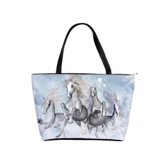 Awesome Running Horses In The Snow Shoulder Handbags by FantasyWorld7